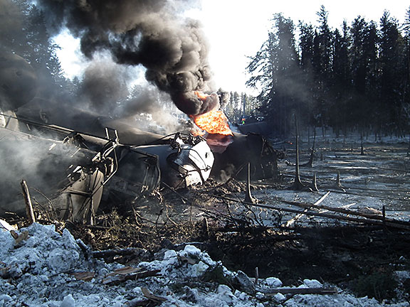 Image of ruptured tank car on fire